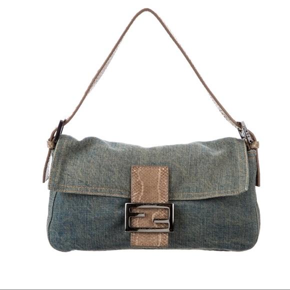 5f8f040f6bf9 Fendi Handbags - FENDI Authentic Denim Snakeskin Mama Baguette Bag
